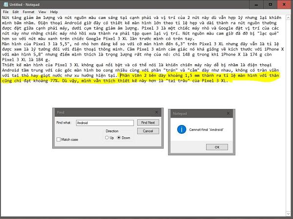 Phiên bản Notepad trên windows 10 build