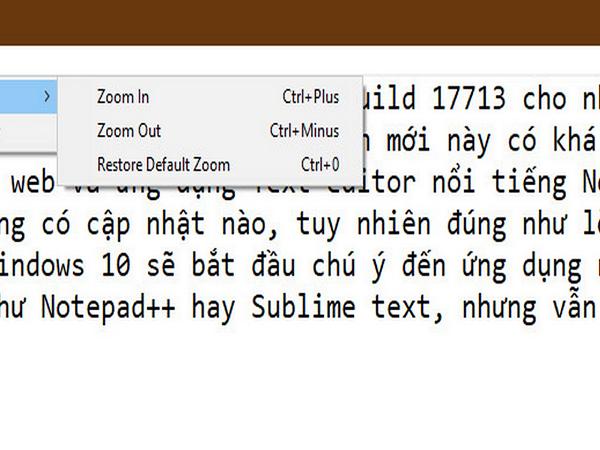Notepad trên windows 10 build tính năng mới