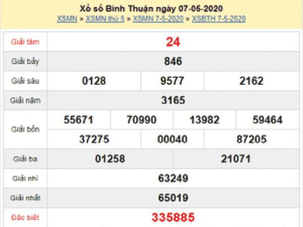 Thống kê lô tô KQXSBT- xổ số bình thuận ngày 14/05 chuẩn xác