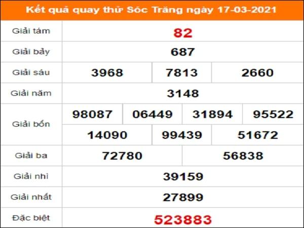Quay thử kết quả xổ số Sóc Trăng 17/3/2021